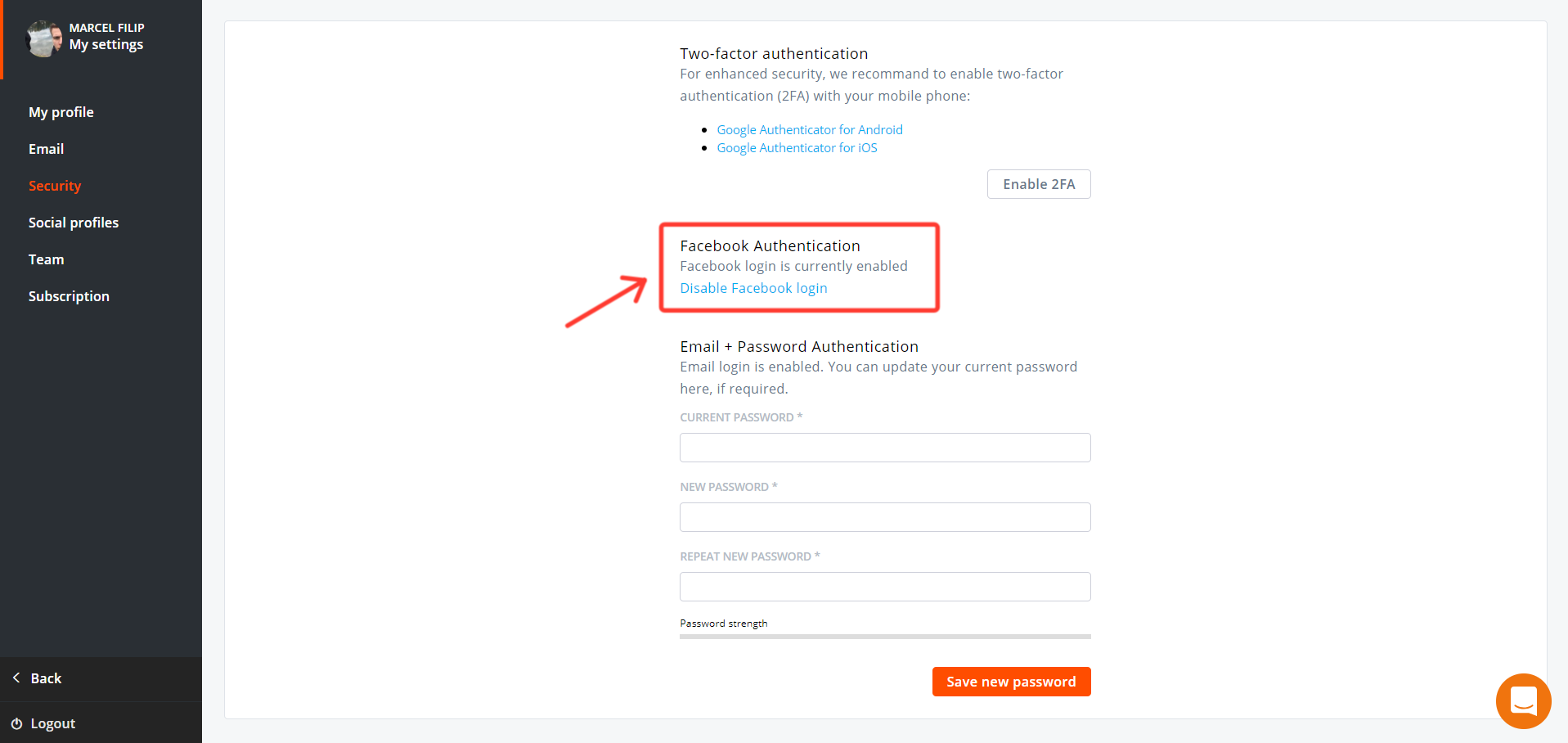 Agorapulse How To Disable Facebook Login In Settings