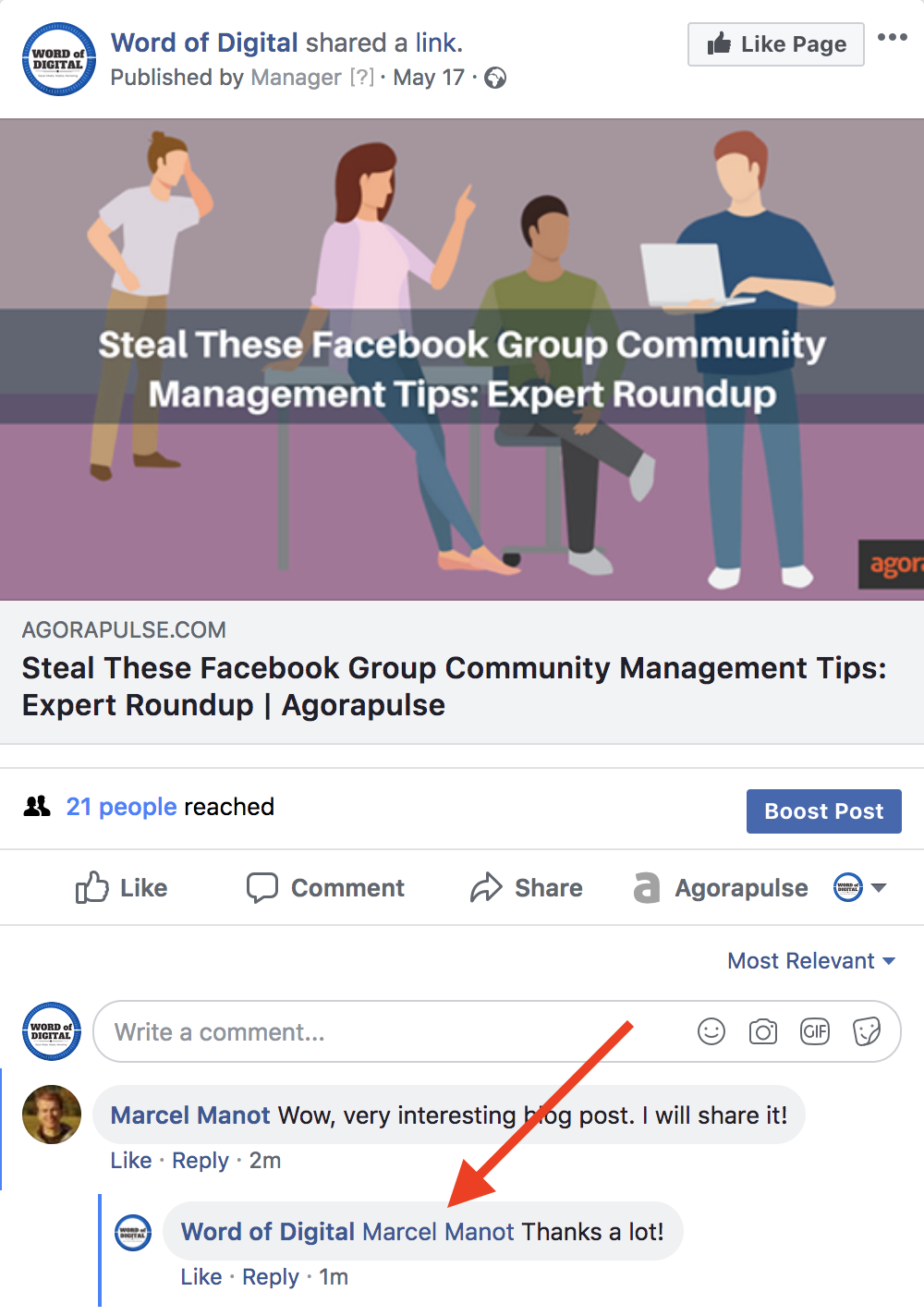 Agorapulse - How do I mention user in a comment on Facebook
