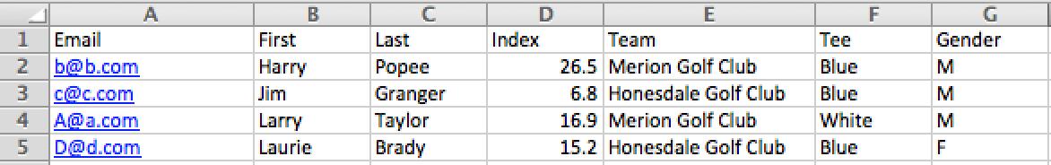 golfgenius uploading event or league roster via spreadsheet
