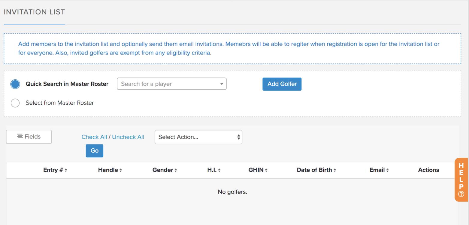 golfgenius invitation lists for event registration