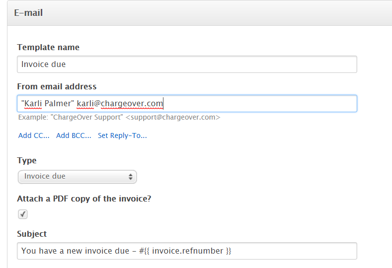 chargeover change what email address invoices or payment receipts