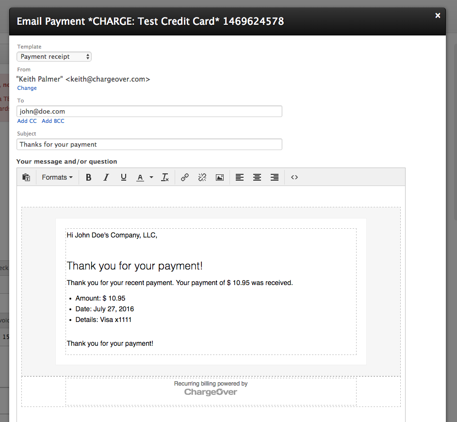chargeover how can i email a payment receipt to a customer