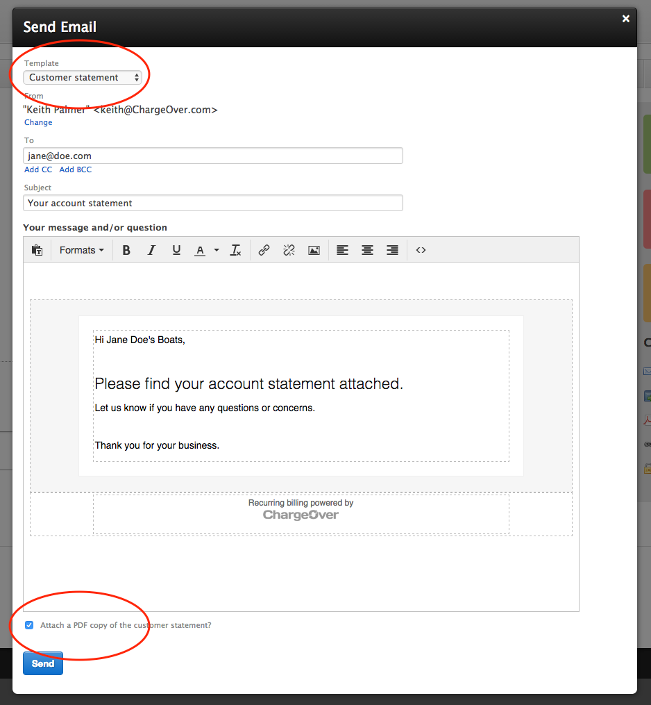 ChargeOver - How can I email a statement of account to a customer?
