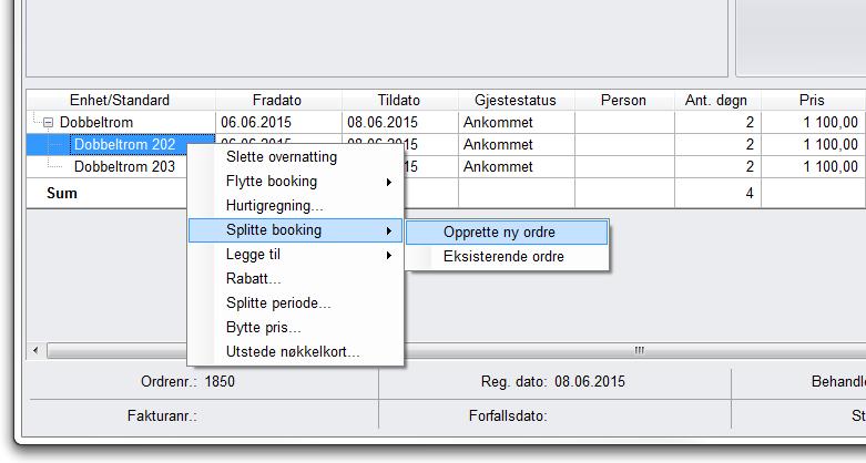 ffc3adbc 1) Høyreklikk på romlinjen som ønskes splittet, velg |Splitte booking| ->  |Opprette ny ordre|. I dette eks. har Hans og Nils delt dobbeltrom 202 i ...