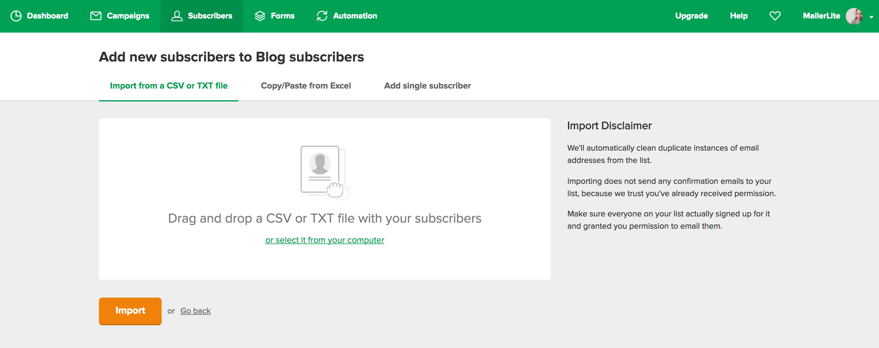 MailerLite - How to import subscribers