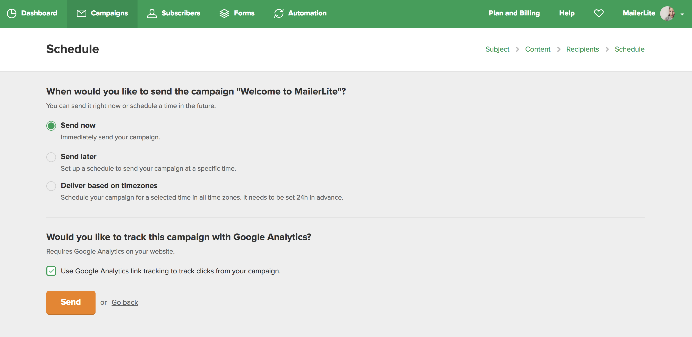 MailerLite - How to use Google Analytics