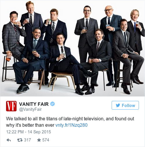 This All Male Vanity Fair Photo Of Talk Show Hosts Has Caused Some  Controversy