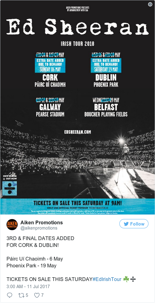 ed sheeran concert dates