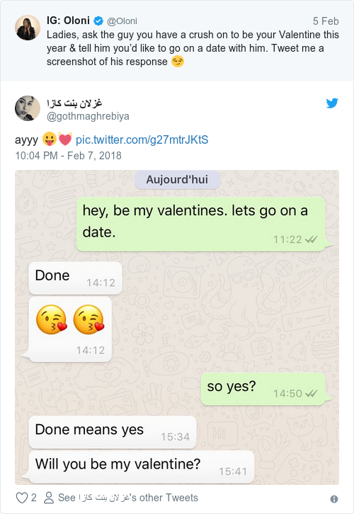 YOLANDA: What does asking someone to be your valentine mean