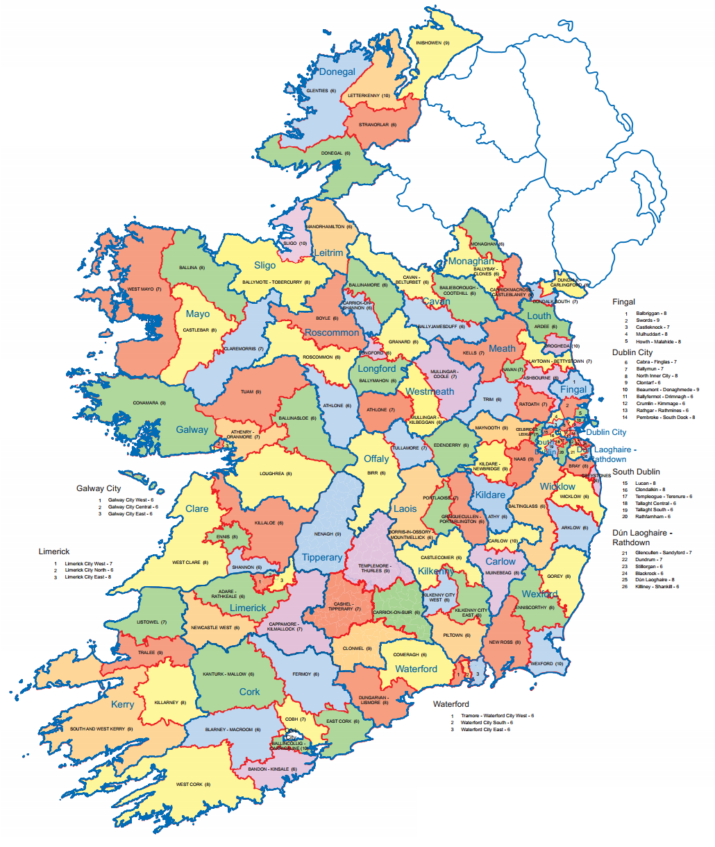 Map Of Ireland With Towns.Here Are The New Boundaries For Next Year S Local Elections
