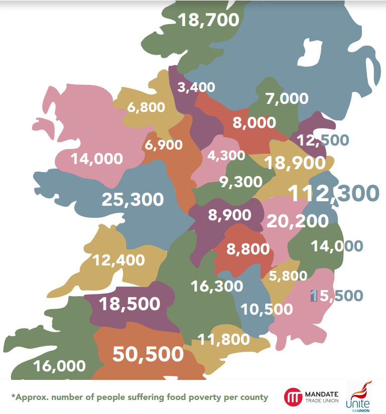 Show Map Of Ireland.This Map Shows Food Poverty Is A Reality In Every County In Ireland