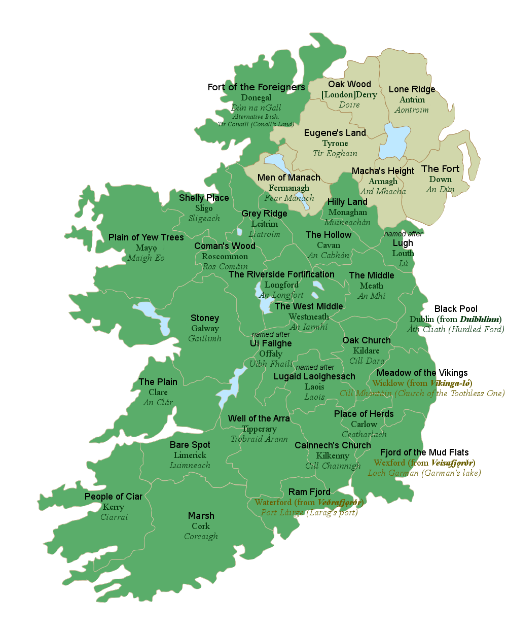 Map Of Ireland By County.All 32 Counties Of Ireland With Their Literal English Translations
