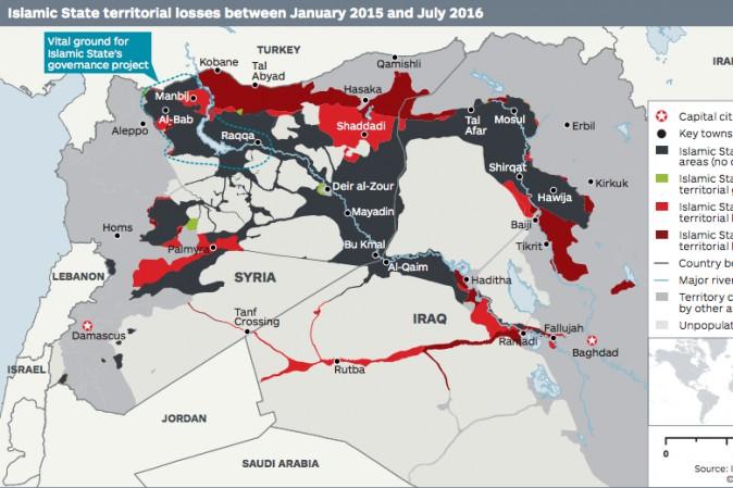 L'Isis ha perso oltre 1/4 del suo territorio in Siria e Iraq