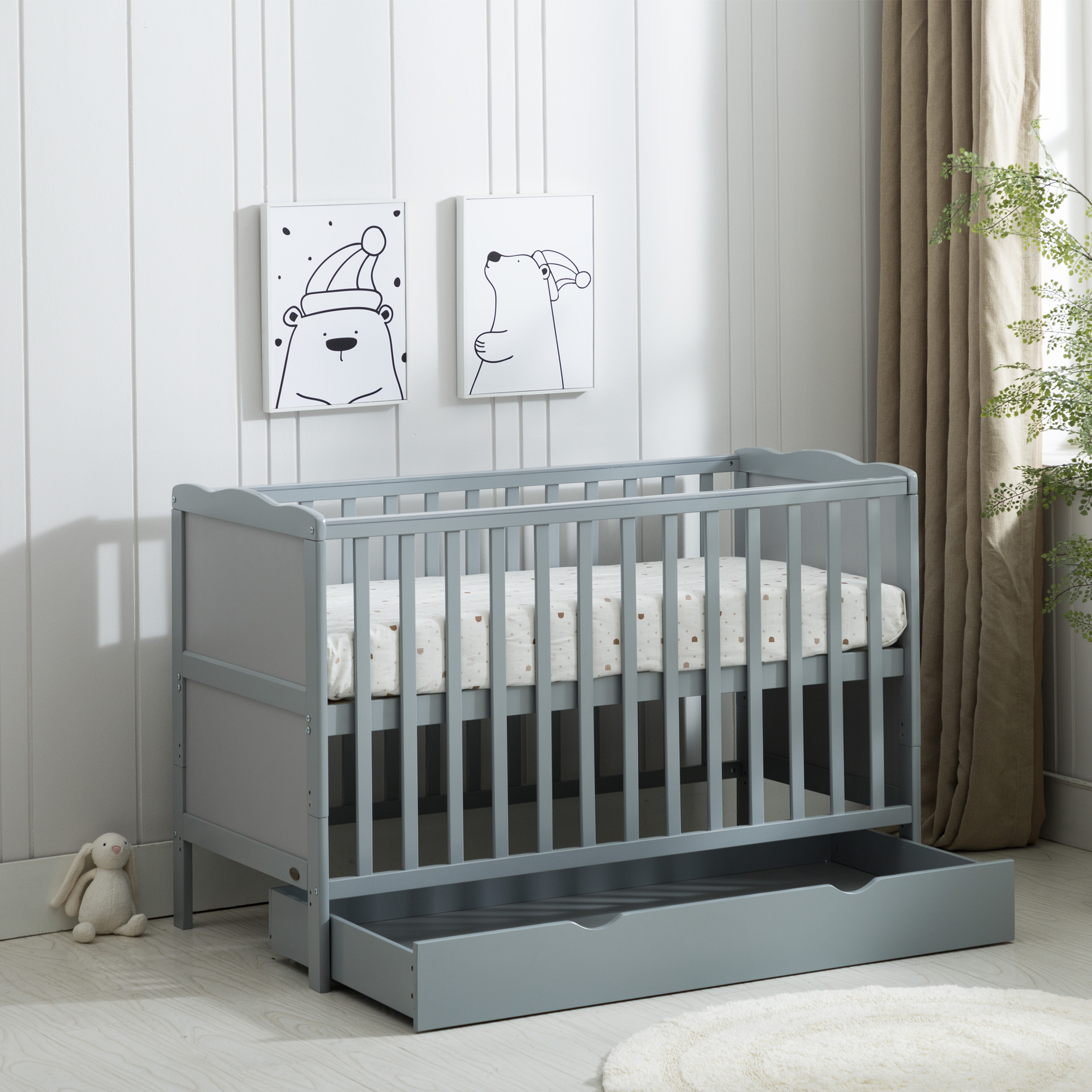 Grey Wooden Baby Cot Bed & Drawer & Aloe Vera Mattress (Orlando Drawer)