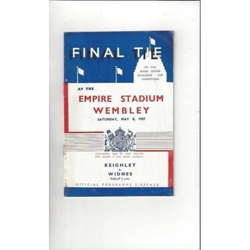 1937 Keighley v Widnes Rugby League Challenge Cup Final Programme