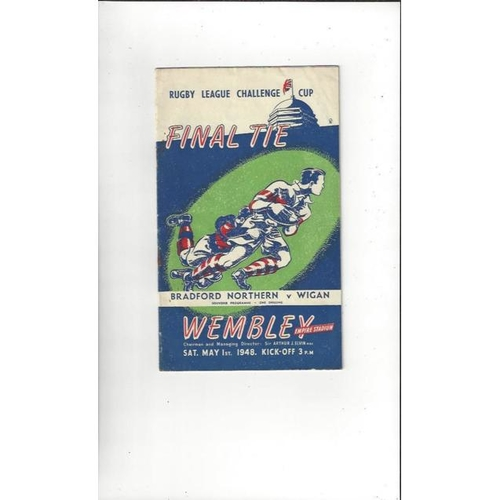 1948 Bradford Northern v Wigan Rugby League Challenge Cup Final Programme