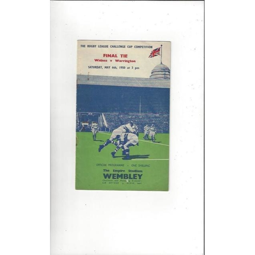 1950 Widnes v Warrington Rugby League Challenge Cup Final Programme