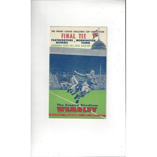 1952 Featherstone Rovers v Workington Town Rugby League Challenge Cup Final Programme