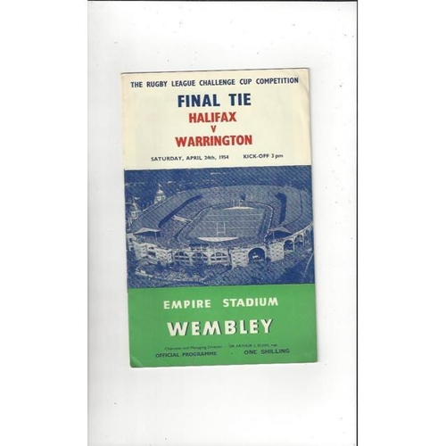 1954 Halifax v Warrington Rugby League Challenge Cup Final  Programme