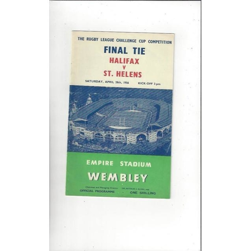 1956 Halifax v St Helens Rugby League Challenge Cup Final Programme