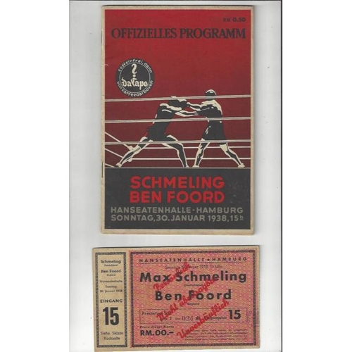 1938 Max Schmeling v Ben Foord in Hamburg Heavyweight Boxing Programme & Ticket