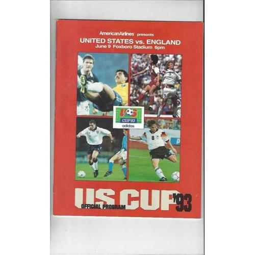 1993 USA v England US Cup Football Programme