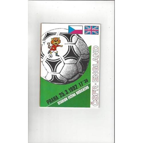 1992 Czechoslovakia v England Football Programme