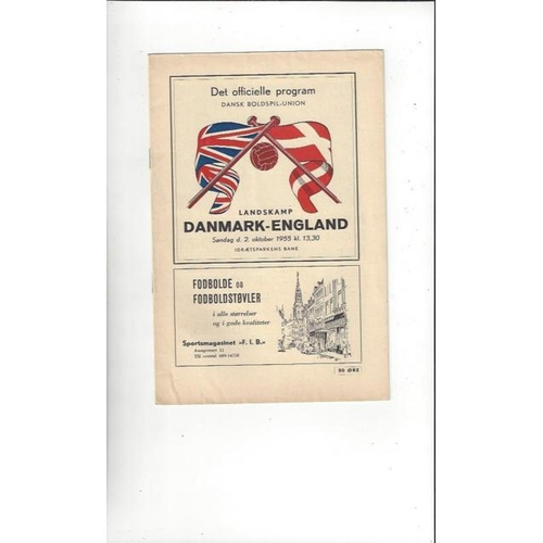 1955 Denmark v England Football Programme