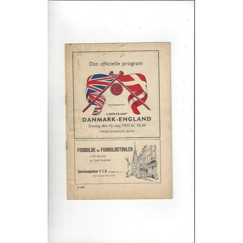 1957 Denmark v England Football Programme 1957