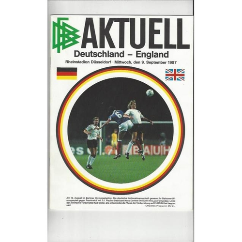1987 West Germany v England Football Programme