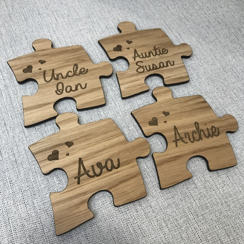 Personalised jigsaw coasters set (4)