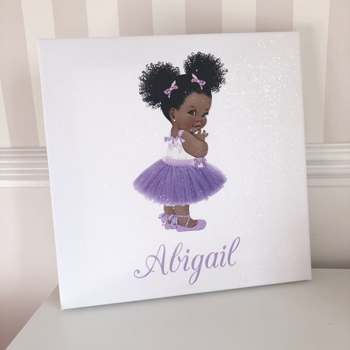 Glitter Canvas Personalised Purple Tutu