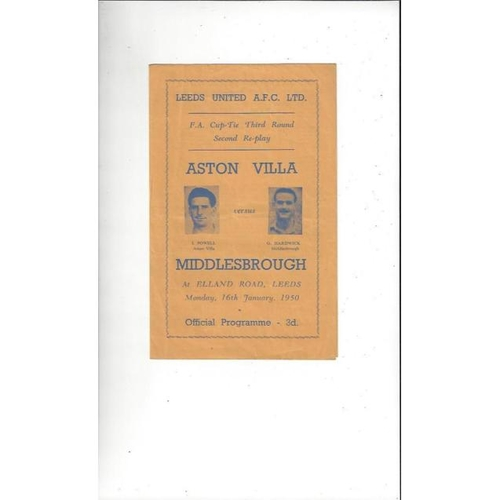 1949/50 Aston Villa v Middlesbrough FA Cup 2nd Replay Football Programme @ Leeds United