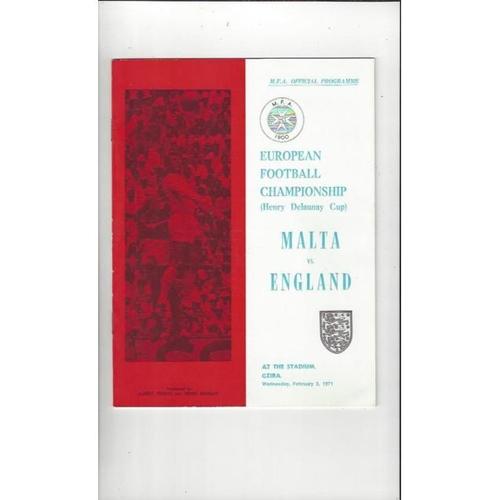 1971 Malta v England Football Programme
