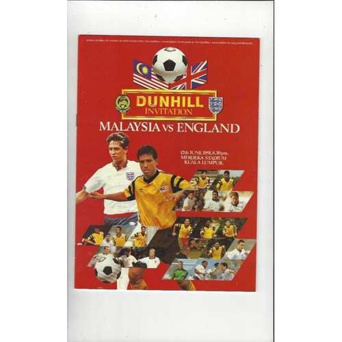1991 Malaysia v England Football Programme
