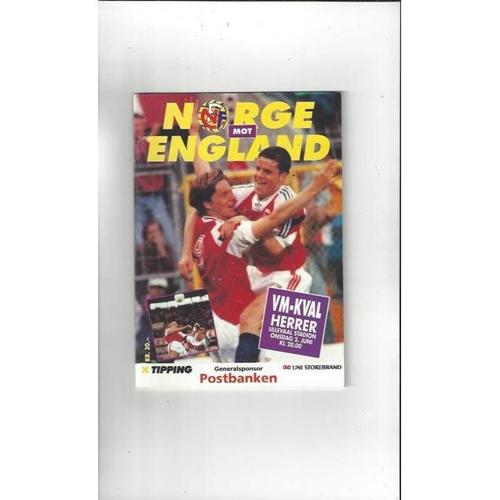 1993 Norway v England Football Programme