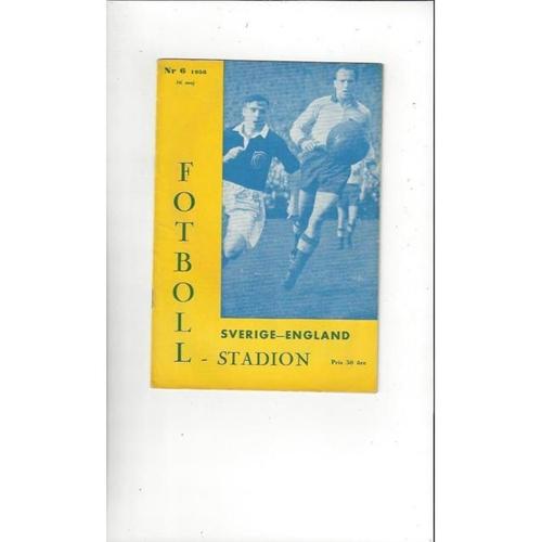 1956 Sweden v England Football Programme