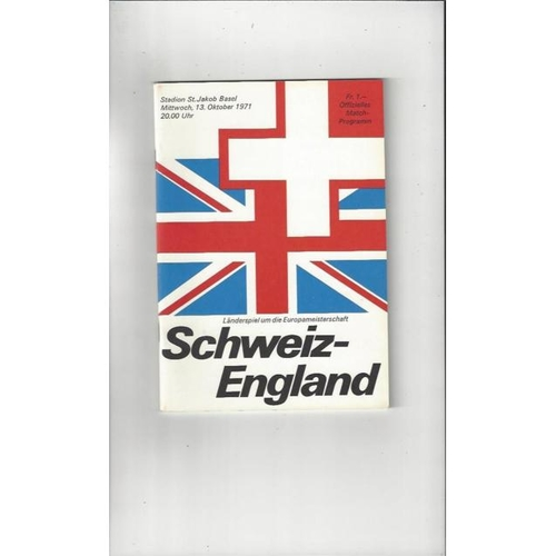 1971 Switzerland v England Football Programme