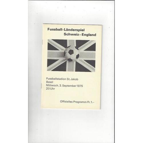 1975 Switzerland v England Football Programme