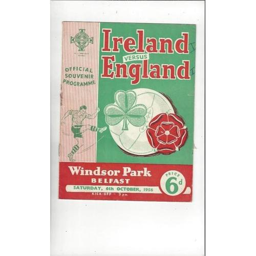 1956 Northern Ireland v England Football Programme