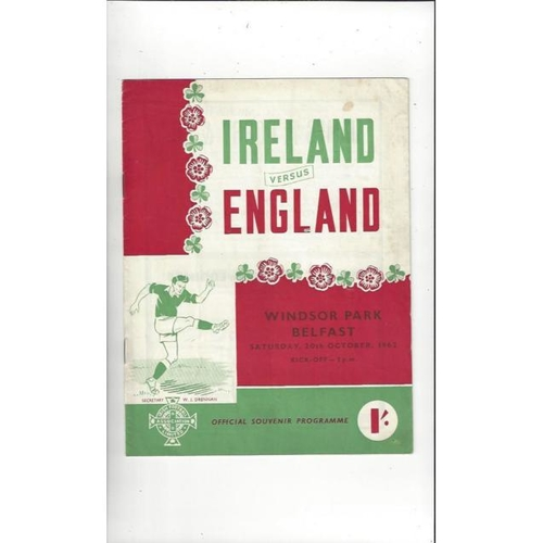 1962 Northern Ireland v England Football Programme
