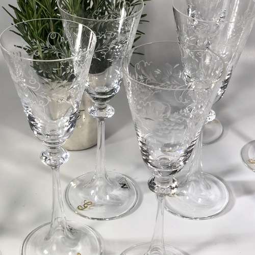 12 Murano etched tall glasses and matching carafe decanter