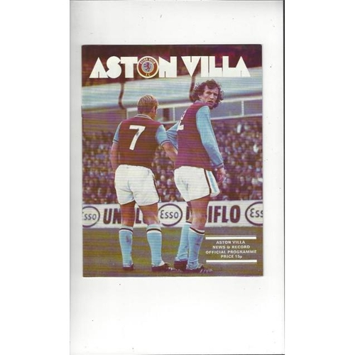 1976/77 Aston Villa v Queens Park Rangers League Cup Semi Final Football Programme