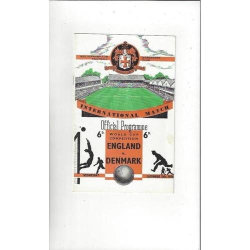 1956 England v Denmark World Cup Football Programme @ Wolves