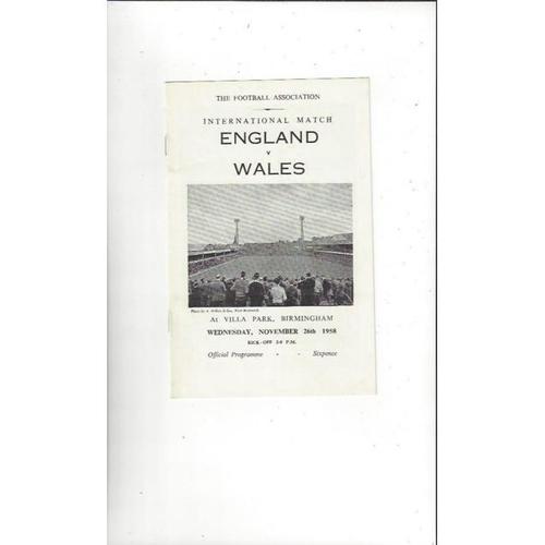 1958 England v Wales Football Programme @ Aston Villa