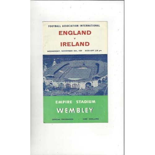 1959 England v Northern Ireland Football Programme.