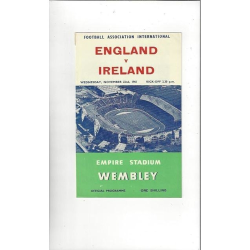 1961 England v Ireland Football Programme
