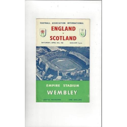 1961 England v Scotland Football Programme