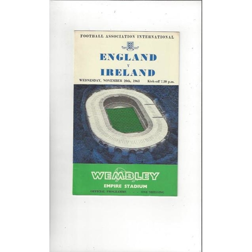 1963 England v Ireland Football Programme