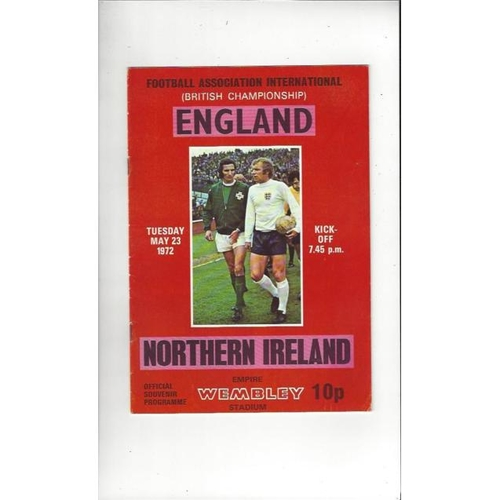 1972 England v Northern Ireland Football Programme